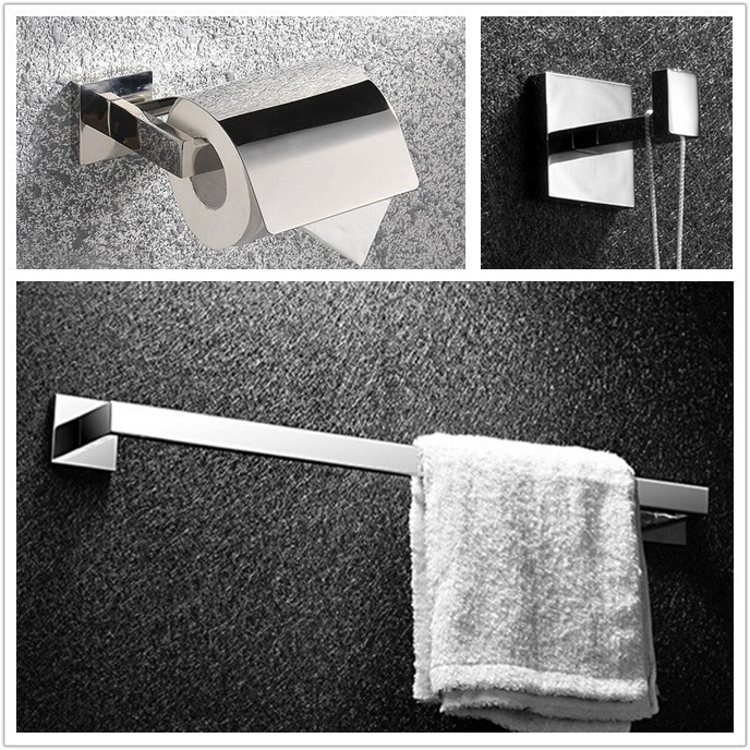 Bathroom Set High Quality 304 Satinless Steel Bathroom Bath Hardware Set Toilet Roll paper holder,robe hook,towel bar 18-005 free shipping high quality bathroom toilet paper holder wall mounted polished chrome