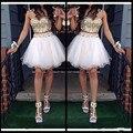 Oro Blanco Moldeado Tulle correa de Espagueti Vestido de Fiesta Novia 2 Unidades short prom vestidos Venta Caliente del vestido de Bola Vestidos de noche