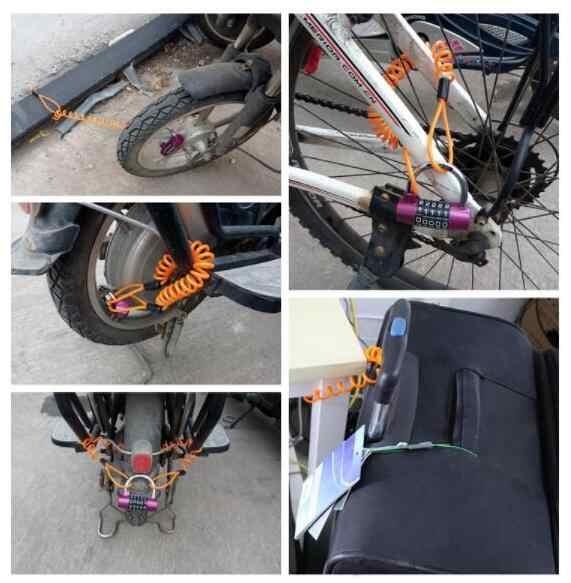 Robesbon 5 Warna 1.2 M Anti Theft Super Tarik Sepeda Lock Tali Helm Kawat Skuter Disc Kawat Musim Semi Lock