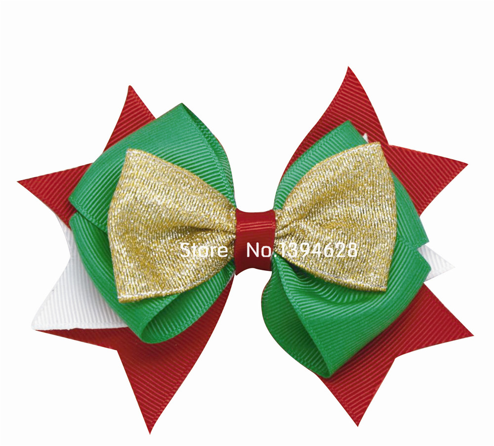 $ 1.59 / 1PC 12cm Solid Golden Onion Belt Og Red Green White Ribbon Xmas Kids Bows With 6cm Clips Bows For Girls Hair Tilbehør