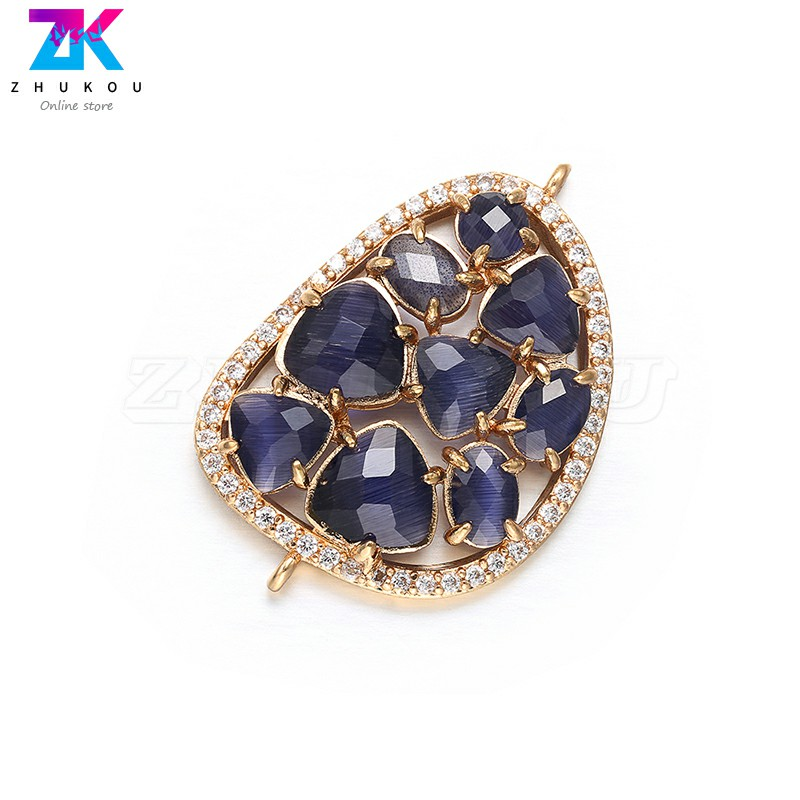 ZHUKOU 23 35mm D shape sparkling high quality crystal connector for ladies bracelet necklace making accessories model VD382B in Jewelry Findings Components from Jewelry Accessories