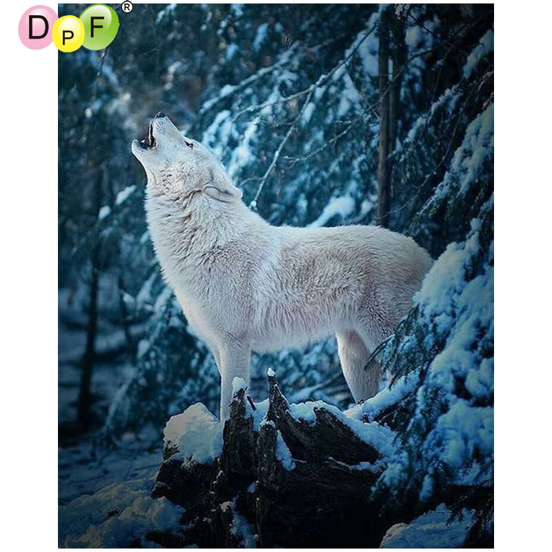 Full Drill Wolf Snowflake DIY 5D Diamond Painting Embroidery Cross Stitch Kits