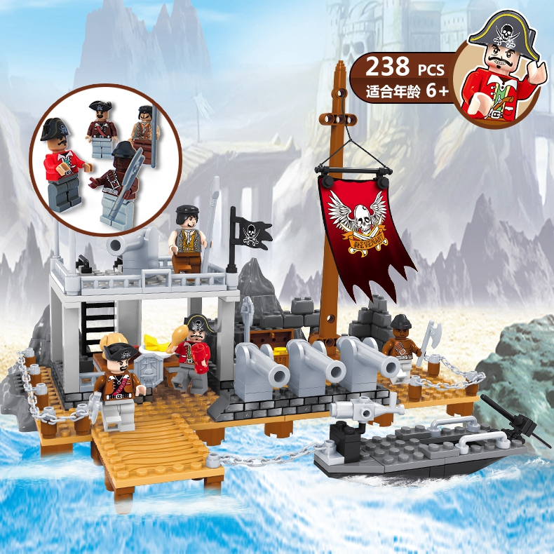 Enlighten Pirates Caribbean Ship Model Kit pirates of the caribbean Island Building Block with Minifig Cannon Arms new lepin 16009 1151pcs queen anne s revenge pirates of the caribbean building blocks set compatible legoed with 4195 children