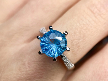 Natural blue topaz gem Elegant simple round Ring S925 Silver Natural Gemstone Ring Men Women's party gift Rings fine Jewelry