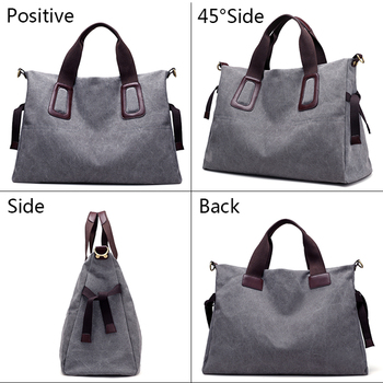 Canvas Women Handbags Casual Large Capacity Female Totes Hobos Solid Crossbody Shoulder Bag 1