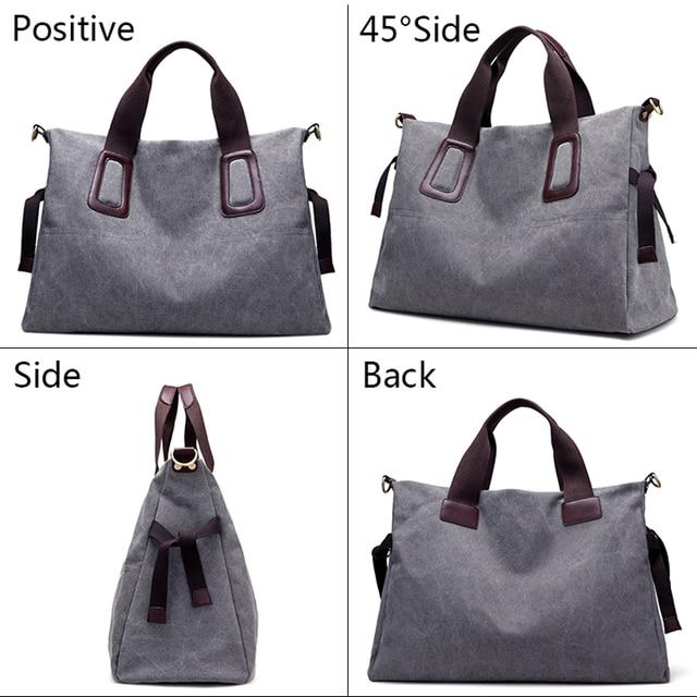 Canvas Women Handbags Casual Large Capacity Female Totes Hobos Solid Crossbody Shoulder Bag 1