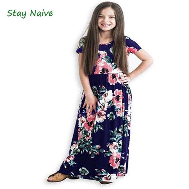 5c3171e91e9 StayNaive Long Dress Fashion Bohemian Dress Girl Short Sleeve Floral Summer  Maxi Dress Kid Party Princess Dress