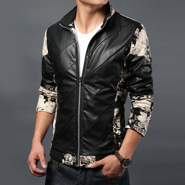 e56e9f7d086 New Men 2015 Spring parquet collar leather jacket Slim stylish casual  leather jacket Clothes Man Jacket W512 708