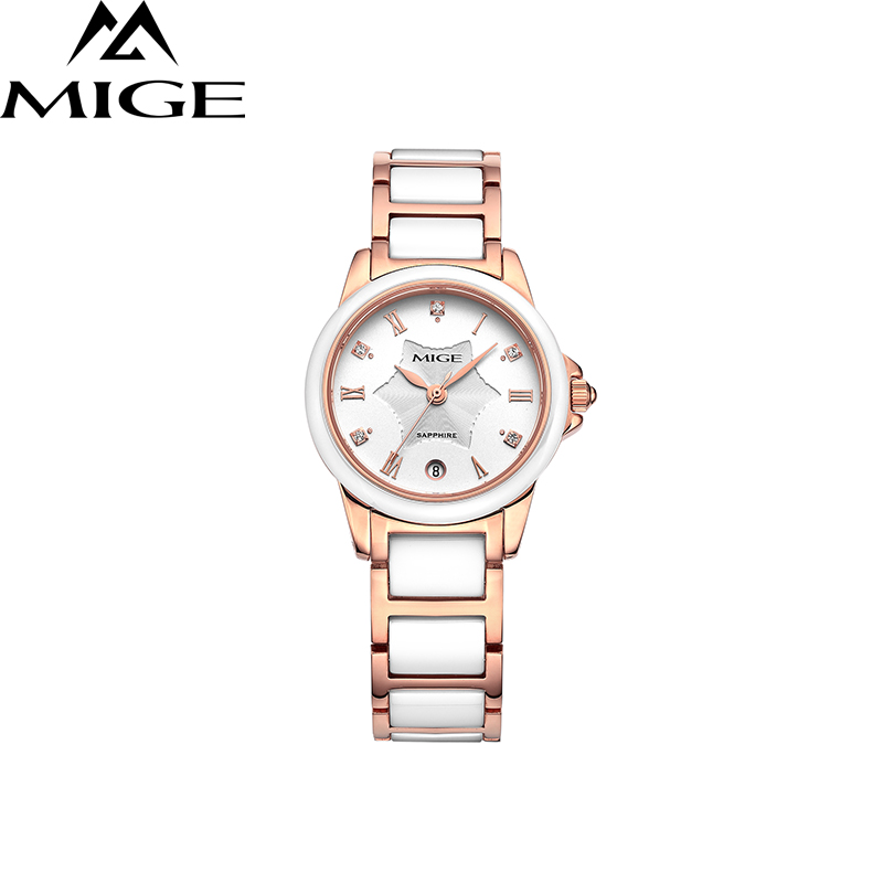 все цены на 2017 Top Luxury Brand White Ceramic Ladies Watch Free Shipping Saphire Dial Female Watch New Fashion Quartz Women Wristwatches