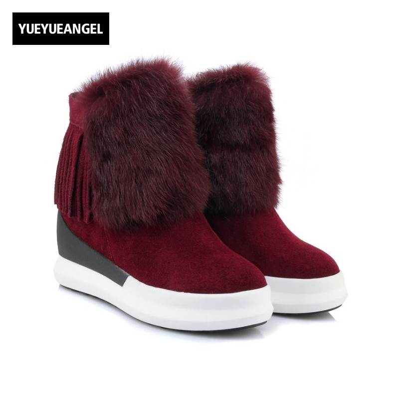 2017 Winter New Fur Trim Tassels Womens Cow Suede Warm Snow Boots Genuine Leather Thicken Platform Creeper Wedges Ladies Shoes