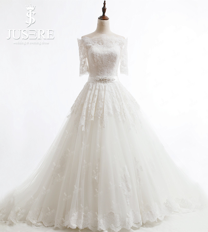 d00482a70d A line Tulle Lace Appliques Crystal Belt Zipper up Buttons Back Court Train  Boat Neck Short Sleeves Classic Wedding Dress 2018-in Wedding Dresses from  ...