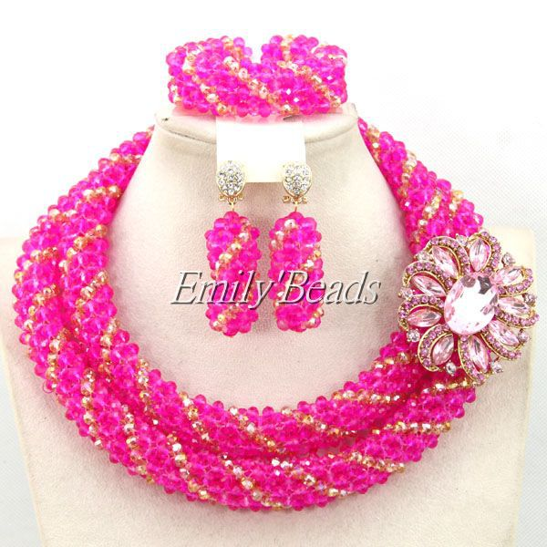 2015 Charms African Beads Jewelry Set Fuchsia Crystal Beads Jewelry Set Gold Nigerian Wedding Jewelry Set Free Shipping AMJ523 high cut criss cross beaded tank teddy bodysuit