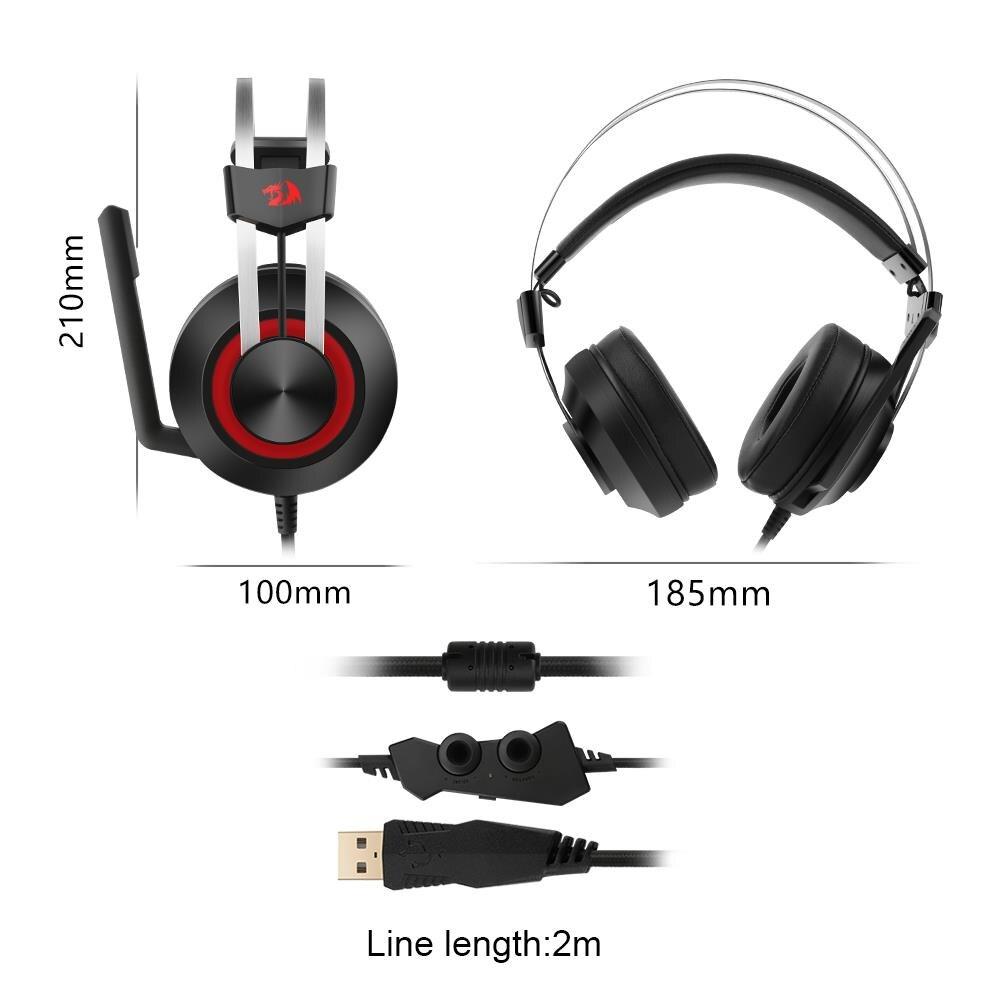 Redragon 7.1 canal virtuel USB Surround son casque de jeu casque filaire gamer respiration rétro-éclairage écouteur Microphone - 5