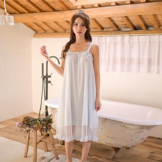 モーダル白レースノースリーブナイトガウン女性のレトロなヴィンテージ王女女性のゆるいパジャマセクシーなナイトドレス