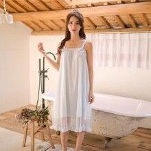 Modalne białe koronkowe koszule nocne bez rękawów dla kobiet Retro Vintage księżniczka kobiece luźna bielizna nocna seksowna sukienka wieczorowa