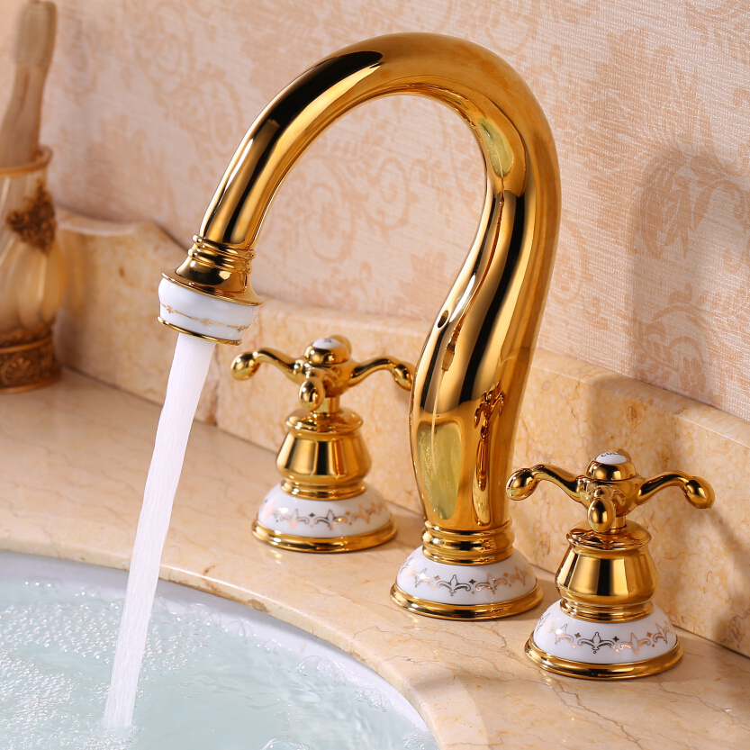 European antique ceramic three-hole basin mixed gold-plated classic cold hot tub faucet