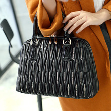 2017 Fashion Charm Women Top-Handle Bags Luxury Genuine Leather Shell Bag Exquisite Pleated Shoulder Bags Female Totes