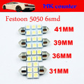Festoon 6smd 5050 led C5W 31mm 36mm 39mm 42mm 6 SMD 6LED Car LED Dome Light Automobile Bulbs Lamp tail lights indicator 12V