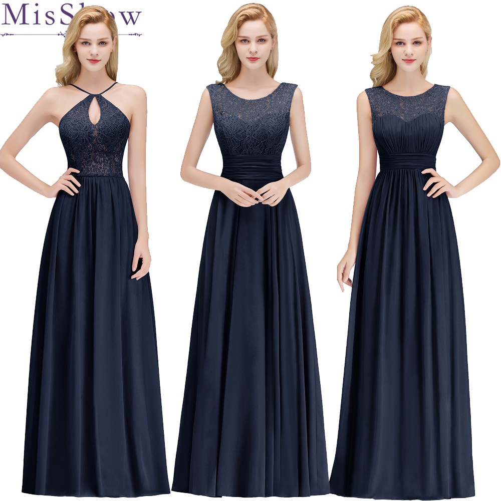Cheap Women Wedding Long Bridesmaid Dresses Chiffon Sexy Navy blue burgundy A Line Formal Wedding Guest Party Bridesmaid Dress