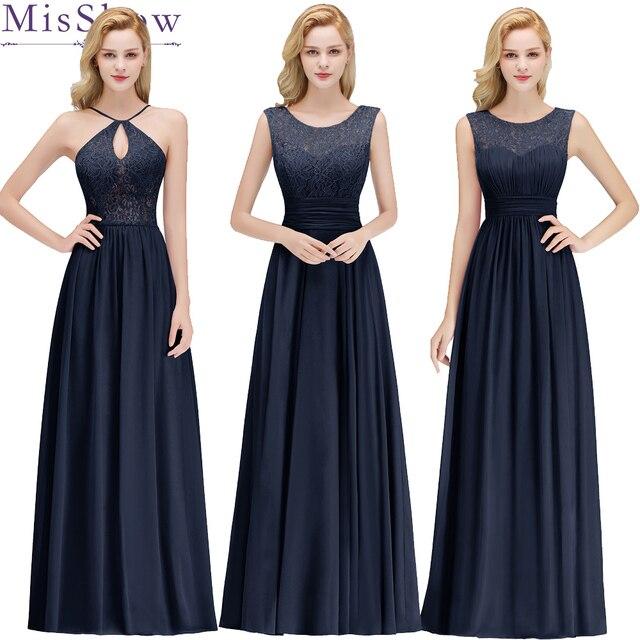 f903d5c2d Mujeres barato boda vestidos de dama de honor de gasa Sexy azul marino  Burdeos una línea