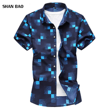 Navy And White Plaid Shirt Men Shirts 2018 New Summer Fashion Chemise Homme Mens Checkered Short Sleeve Blouse