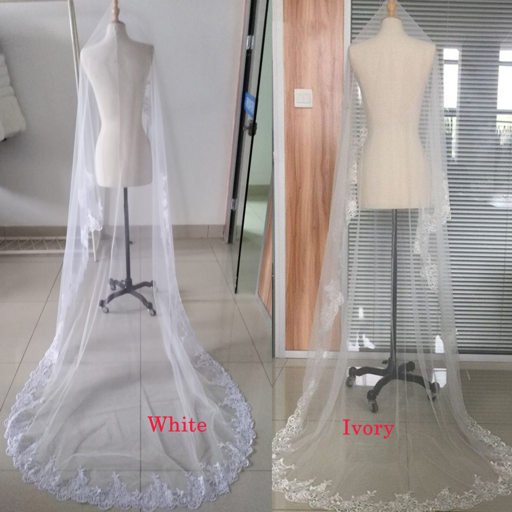 Veu de Noiva 2.7 M One Layer New White Ivory Cathedral Wedding Veils With Metal Comb Long Bridal Veil Wedding Accessories