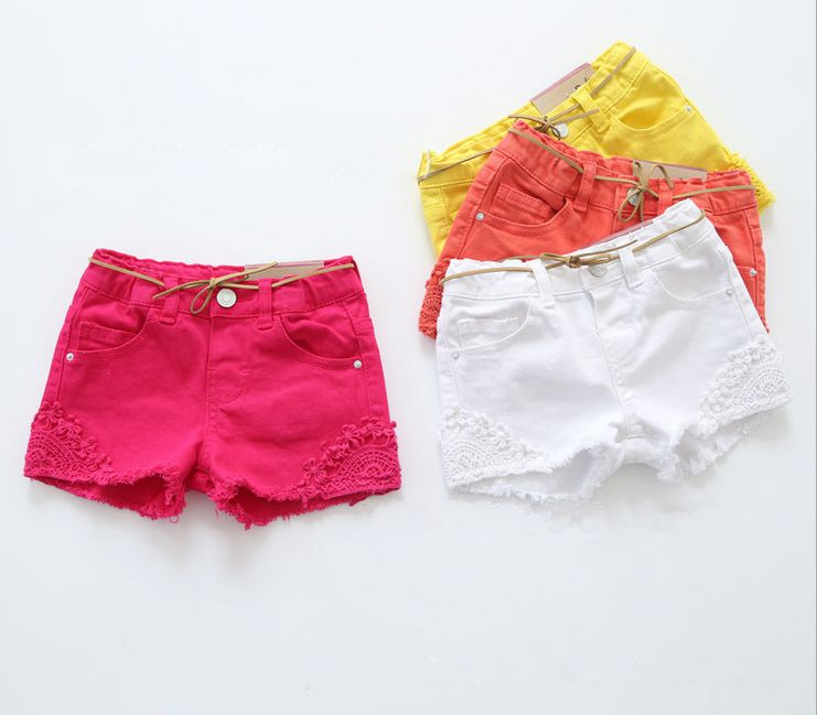 New Shorts Baby Girls Summer Shorts Girls Fashion Embroidery Shorts Kids Cotton Short Pants With Belt Girls Casual Shorts 2016 summer europe fashionable girls cute girls short bow wave shorts cotton suit birthday gift for girls