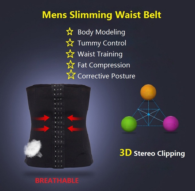 NINGMI Man Shapewear Waist Trainer Body Shaper Slimming Tummy Trimmer Fitness Belly Band Modeling Belt Breathable Corset Cincher 4