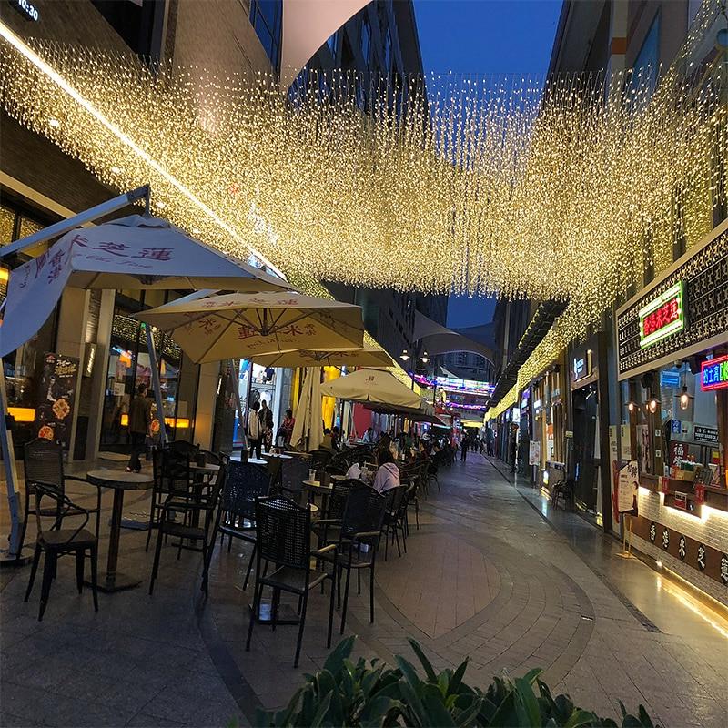 Outdoor AC220V wróżka świąteczna Ramadan sopel kurtyna świetlna Led girlanda żarówkowa na świąteczna do domu świąteczna dekoracja ślubna