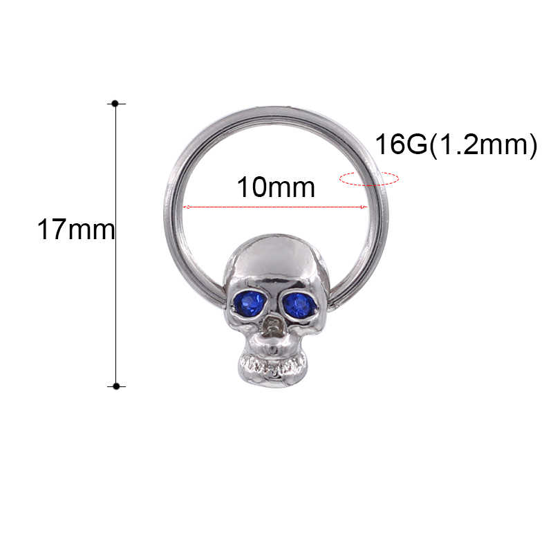 Trendi Wildless Tengkorak Liontin Cincin Hidung Vintage Rhinestone Stainless Steel Hidung Ring Cincin untuk Wanita Femme Perhiasan Bijoux
