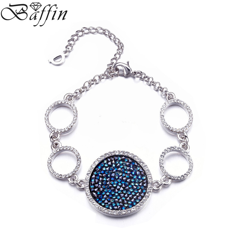 Hot Fashion Rhodium Plated Bracelets for Woman With Crystals From Swarovski Paved Round Bracelet & Bangles Luxury Jewelry 2017