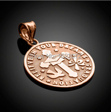 High quality and low price  Rose Gold Reversible Graduation Medallion Charm   FH810059