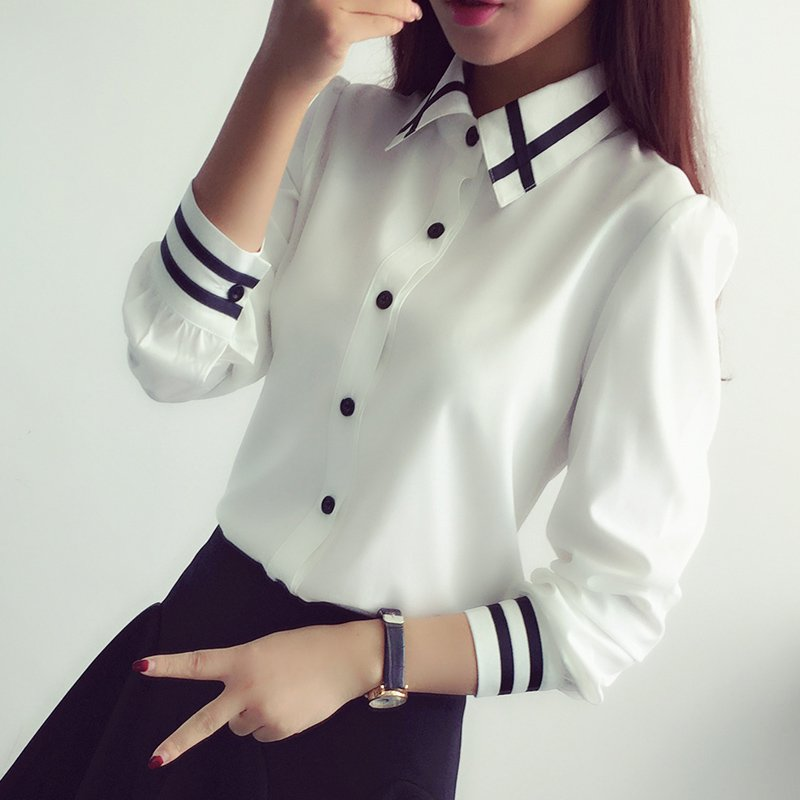 New Office Button Elegant Chiffon Women's Blouse Striped Long Sleeve - Women's Clothing - Photo 3