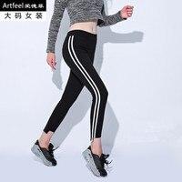 5XL 6XL plus size women leggings satin slim striped patchwork legging double white stirped irregular hole female legging