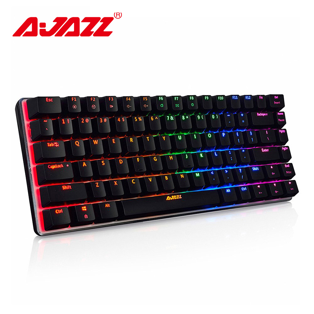 Ajazz AK33 82 llaves mechancal teclado retroiluminación RGB ruso/Inglés diseño azul/negro interruptor de teclado