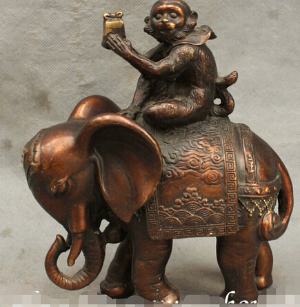 0 8 Chinese Auspicious Pure Bronze Monkey Ride Elephant Seal Statue Art Sculpuure0 8 Chinese Auspicious Pure Bronze Monkey Ride Elephant Seal Statue Art Sculpuure