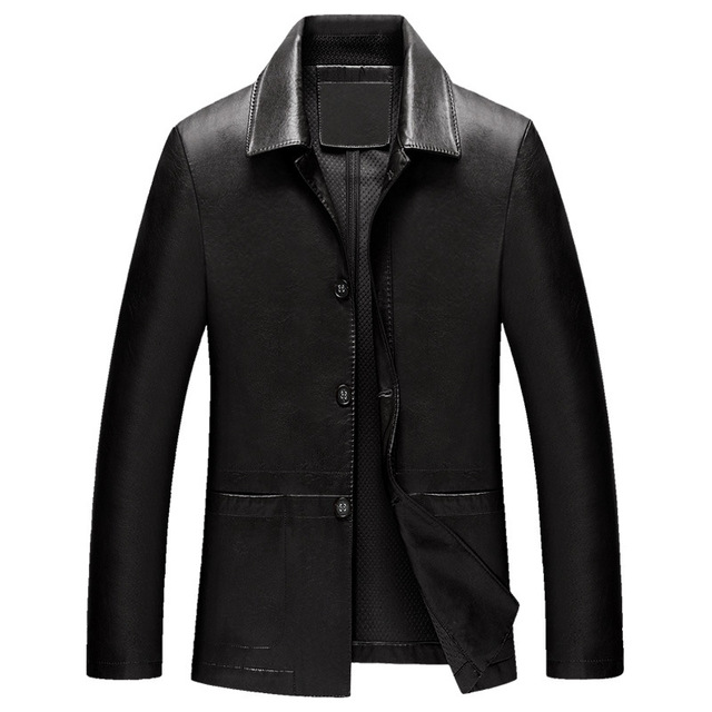 Leather Jacket Men Autumn Faux Sheepskin Coat Black Collar Slim Fit British Style High Quality Fashion Men's Clothing Brand New