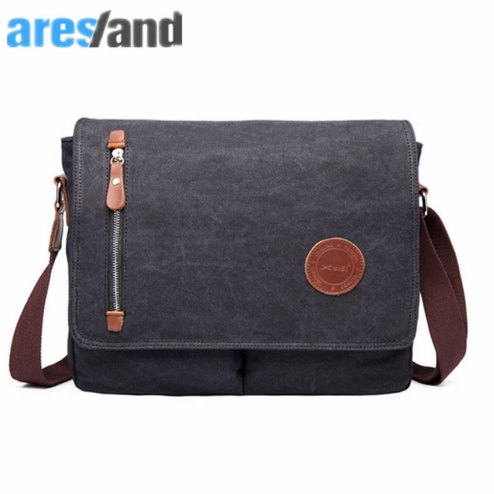 ARESLAND Casual Men Messenger Crossbody Bag Flap Canvas Retro Style Male Single Shoulder Cross Body Bag Vintage - Black augur new men crossbody bag male vintage canvas men s shoulder bag military style high quality messenger bag casual travelling
