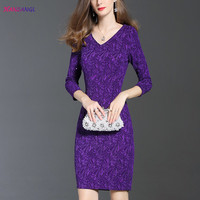 HANZANGL Newest Womens Autumn Winter 3 4 Sleeve Elegant Sexy V Neck Work Business Party Bodycon