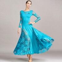 High end Art Class Latin ballroom Dance Dresses Sexy Lace Long Sleeveswaltz tango standard dance Dresses