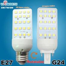 G24 LED Bulbs 5W 7W 9W G24 LED Corn Bulb Lamp Light SMD5050 Spotlight E27 180 Degree AC 110 220V Horizontal Plug Light