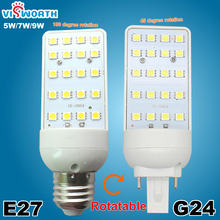 G24 LED Bulbs 5W 7W 9W G24 LED Corn Bulb Lamp Light SMD5050 Spotlight E27 180 Degree AC 110 220V Horizontal Plug Light(China)