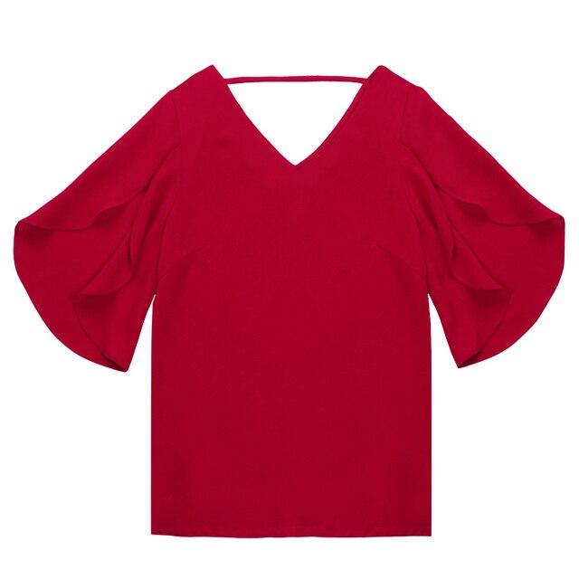 2019 chiffon women blouse shirt new Fashion Short flare Sleeve Women's clothing Sexy V-neck Plus Size lady tops blusas 900C 30 4