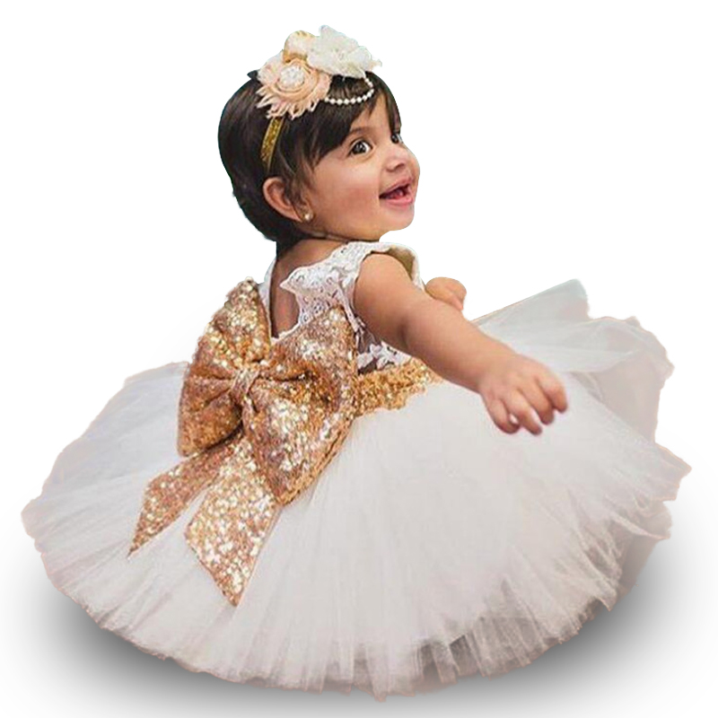 New Fashion Formal Newborn Wedding Dress Baby Girl Bow ...
