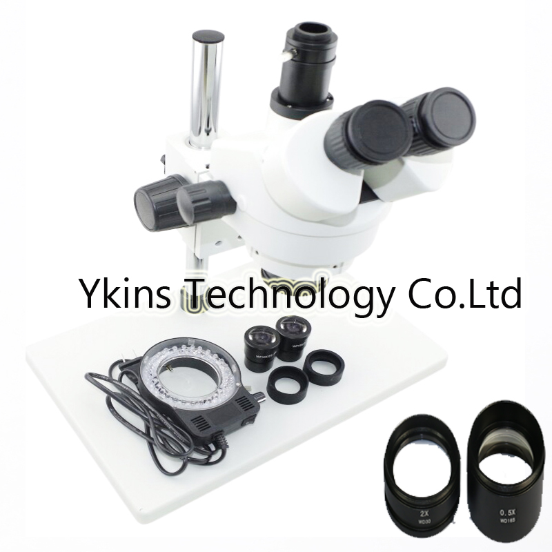 Industrial Trinocular stereo microscope 7X-45X OR 3.5X-90X Continue binocular Visual +56 Led light for mobile phone soldering
