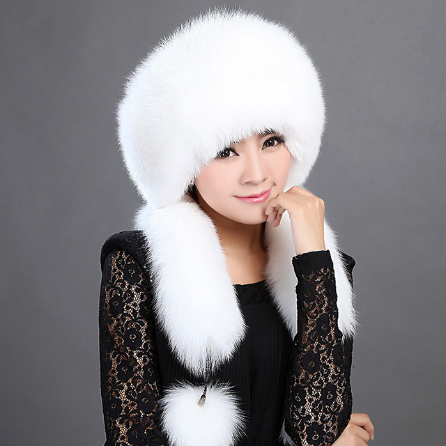 New Fashion Women Fox Fur Hat Winter Korean Round Adjustable Long Tassel Rex Rabbit Hat Hot Sale 2017 Promotion Luxurious Hats