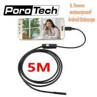 7mm Lens Mini USB Android Endoscope Camera 1M 2M 5M Waterproof Car Inspection Camera Snake Tube