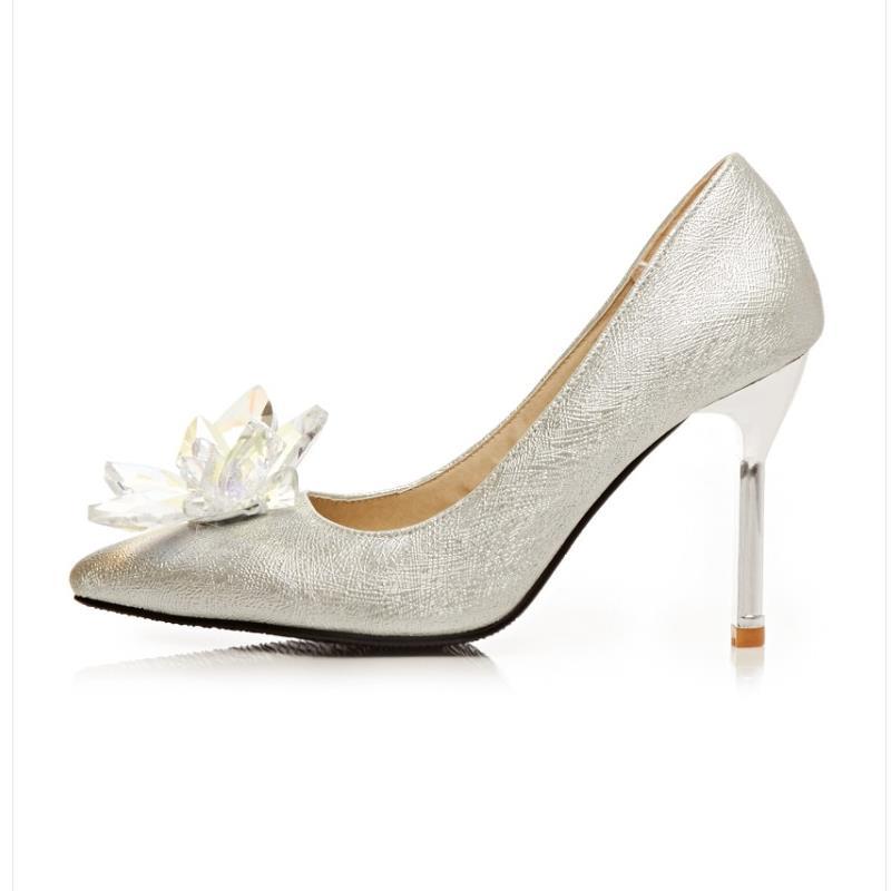 Mince Fleur Mariage Taille 43 Kaizikarzi Solide Haute Femmes Cristal Dames Talon Glissent Sur De 32 Talons Womne Pompes Partie Argent Chaussures 54Aj3RL