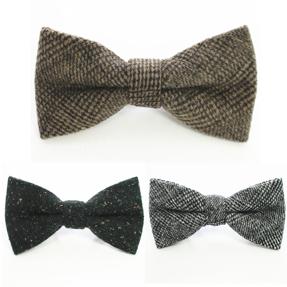 GUSLESON Wool Bow Ties For Men Cravats Fashion Adjustable Cashmere Bowtie For Wedding Party Groom Adult Solid Bowties
