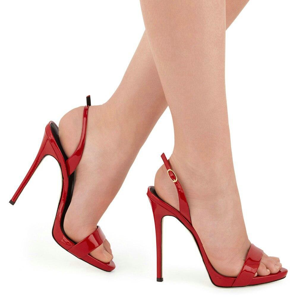 Black Blue Vestir Sandalias dark Zapatos Rojo Tamaño Negro suede red Amourplato Abierta Mujeres Gran Stilettos gold Punta De Black Verano Patente Cm Color Slingback 12 Elegantes CCq4wcx0OH
